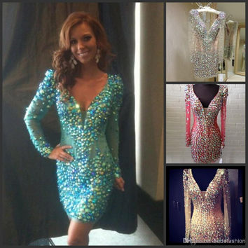 Charming Color Rhinestone Cocktail Dresses 2016 Above Knee V Neck Long Sleeves Prom Dress Women Mini Cocktail Party Gowns