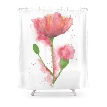 Society6 Pink Poppy Shower Curtain