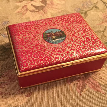 Antique Dachau Red Leather Sewing Box, German Sewing Box, Ledorna Sewing, Elaborate Gold Scroll, Gold metal Rim, Divided Velour Interior