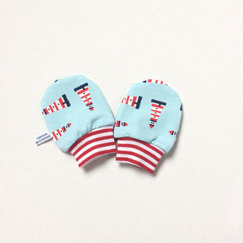 Blue and red baby mittens with boats, baby scratch mitts, knit fabric. Baby Gift Boy or Girl Hand Covers Gender neutral. Baby shower gift