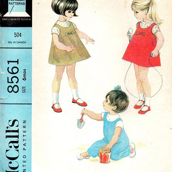McCall's 8561 Sewing Pattern 1960s Toddler Girl Jumper Dress Overalls Blouse Casual Playsuit Size 6 Months