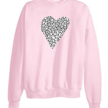 Tumblr Transparent Kitty Cat Heart Sweatshirts