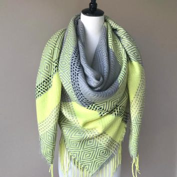 """""""Style me up"""" Scarf - Gray and Neon Green"""