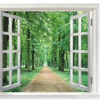 Princess' Dream - Window Forest View, Removable, Transparent Wall Sticker, Wall Decoration