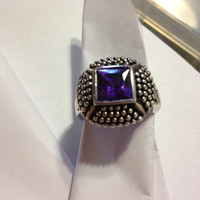 Amethyst Sterling RING Size 7.5 3 CT Carats Silver Emerald Cut 925 Purple Gemstone Sparkly Vintage Engagement Cocktail February Birthstone
