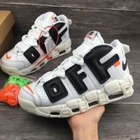 Best Online Sale The 10 OFF WHITE x Nike Custom Air More Uptempo White Black Orang Sport Rinning Shoes 902290