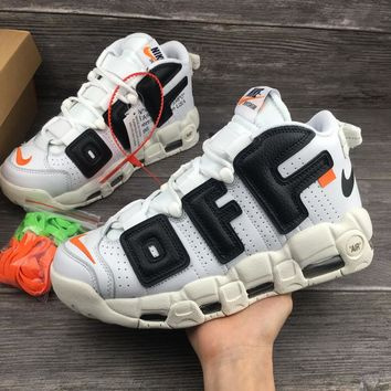 6c177327e62b Best Online Sale The 10 OFF WHITE x Nike Custom Air More Uptempo White  Black Orang