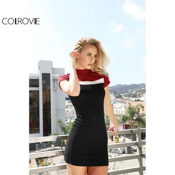 COLROVIE Korean Women Clothing Patchwork Dress Women Formal Dresses Color Block Mock Neck Ribbed Bodycon Dress