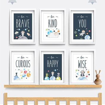 Modern Canvas Art Lovely Kid Room Nursery Wall Art Decor Space Themed Baby Boy Gift Be Brave Be Kind Be You Moon Print Painting