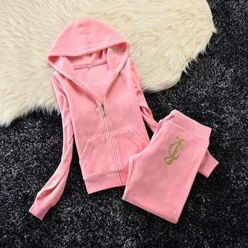 Juicy Couture Studded Jc Crown Velour Tracksuit 6020 2pcs Women Suits Pink - Ready Stock