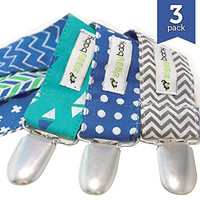 Pacifier Clip - 3 Pack, BOYS - Ziggy Baby 2-Sided Design, Pacifier Holder - B...