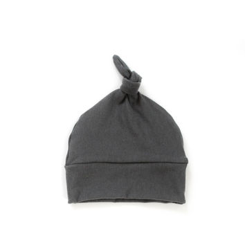 Baby Knotted Hat in Dark Gray