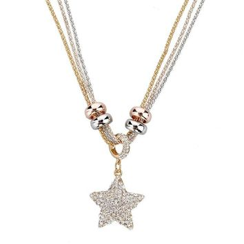 Gold Silver Chain Classic Star Pendant Necklace