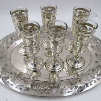 Vintage Sterling Silver Taxco Mexico Shot Glasses and Sterling Silver Tray