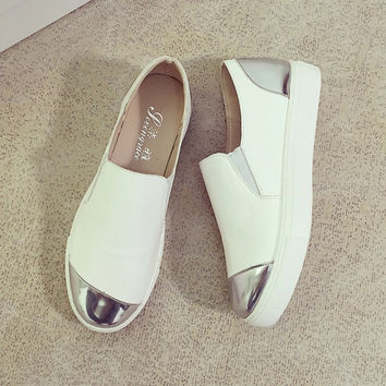 Comfortable New Elegant Causal Korean Shoes Thick Crust Patchwork Loafer Shoes [9432940362]