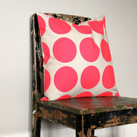 Large Bright pink dots pillow cover, neon pink and cream spots cushion cover, pink decor
