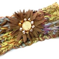 Knit Headband Multi Colored with Fabric & Rhinestone Flower Taupe/Rainbow - HaileyMason, LLC Store