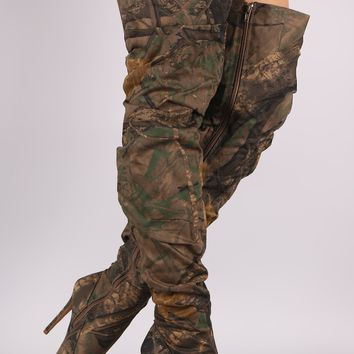 Liliana Camouflage Slouchy Pointy Toe Over-The-Knee Stiletto Boots