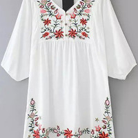 White V Neck Embroidered Half Sleeve Empire A-Line Pleated Mini Dress