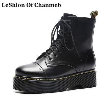 real leather dr martins boots women lace up white D Martens boots platforms fall winter shoes female riding motorcycle boots new