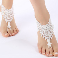 Free Ship off white or gold frame, flexible ankle sandals,  laceBarefoot Sandals, french lace, Beach wedding barefoot sandals