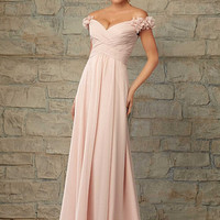 2015 new bridesmaid dress Elegant pink chiffon bridesmaid dress long section Fashion prom dresses Custom dress evening dress