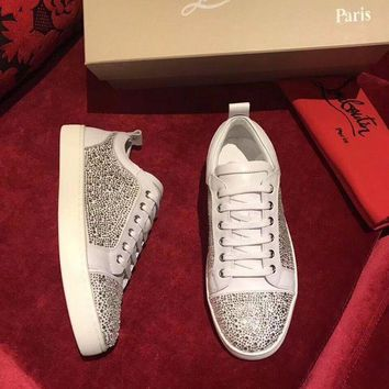Christian Louboutin Cl Louis Junior Strass Mens Flat White Shoes - Beauty Ticks
