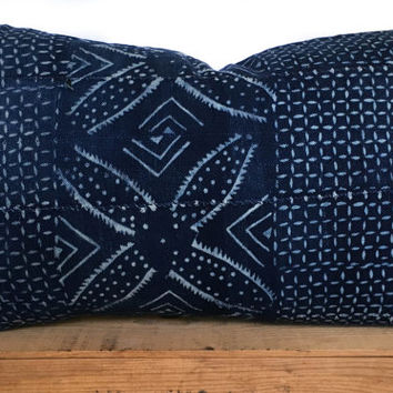 16x26 Inch Vintage Indigo African Mud Cloth Pillow Cover