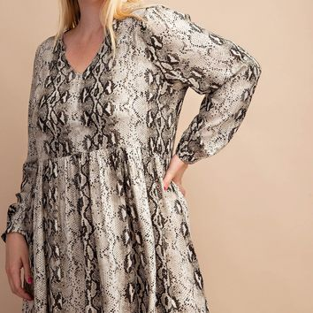 Snakeskin Printed Dress - Choco
