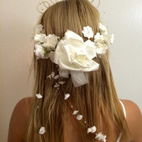 vintage calla lilly and pearl flower crown