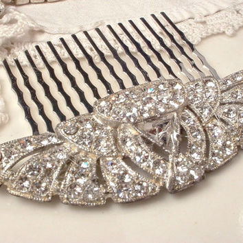 1920s Art Deco Original Vintage Flapper Rhinestone Bridal Hair Comb, Pave Clear Crystal Antique Fan Brooch to HairComb Head Piece Victorian