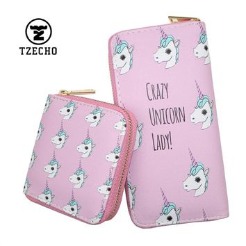 TZECHO Zipper Around Wallets For Women With Phone PU Cartoon Unicorn Clutch Purses Small Cards Holder Long Ladies Mini Wallets