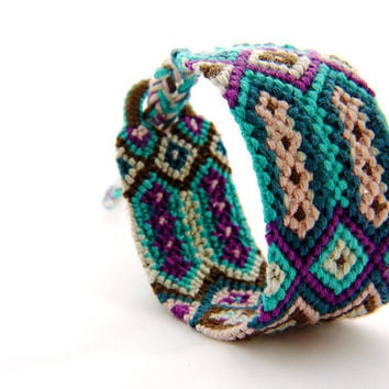 Handwoven Traditional Tribal Friendship Bracelet - Colorful Braided Macrame Best Friend Braclet with Buckle and Braid Finish