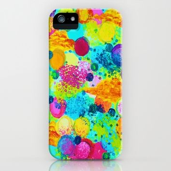 TIME FOR BUBBLY Colorful iPhone 4, 4s, 5 , 5s, 5c Case, Fine Art Custom Cell Phone Cover, Abstract Acrylic Painting Design Bold Turquoise Rainbow Bubbles
