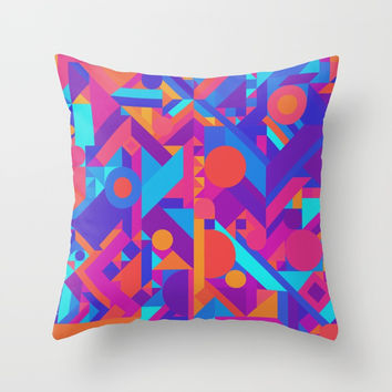 GEOMETRY SHAPES PATTERN PRINT (WARM & COOL COLOR SCHEME) Throw Pillow by AEJ Design