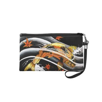 Cool oriental japanese Gold Lucky Koi Fish tattoo Wristlet Purses from Zazzle.com