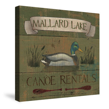 Lodge Signs IV (Mallard Lake) Canvas Wall Art