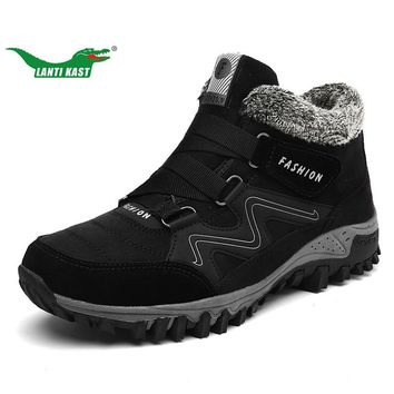 LANTI KAST Genuine Plush Warm Hiking Shoes Men Rubber Sole Non-slip Climbing Shoes Plus Fur High Boots Walking Sport Shoes