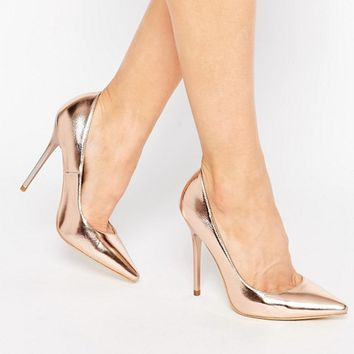 Public Desire Josie Rose Gold Court Shoes at asos.com