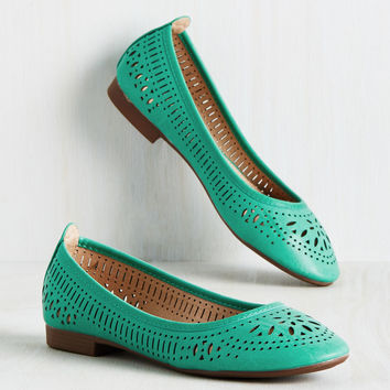 Swept Up in Sweetness Flat in Aqua | Mod Retro Vintage Flats | ModCloth.com
