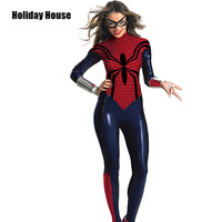Sexy Women Spiderman Bodysuit Spider Girl Spidergirl Costume Blue Leather Spider Woman Costume Jumpsuit Cosplay Costume Zentai