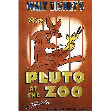 Walt Disney's Pluto at the zoo MOVIE POSTER 1936 24X36 VINTAGE CARTOON