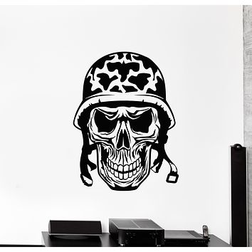 Vinyl Wall Decal Skull And Bones Soldier Skeleton Head Helmet Stickers Mural (g808)