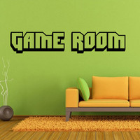 Game Room Wall Decal *Choose Size & Color* Game Room Vinyl Wall Decal Home Decor Man Cave Gamer Video Games - Lettering Decals 2 bit style