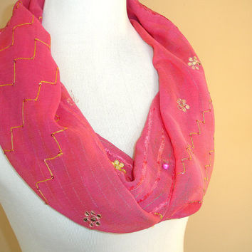 Upcycled Sari Scarf: Indian Saree Twisted Infinity Scarf, Pink Loop Scarf, Chunky Circle Scarf, Snood OOAK
