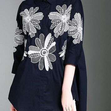 Peter Pan Collar Seventh Sleeve Embroidered Blouses Shirts