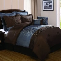 VCNY Harmony 8-Piece Queen Comforter Set, Blue/Chocolate