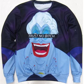 Unisex Hoodies Women Men Trust No Bitch Ursula Sweatshirt 3D Print Funny Cartoon Jumper Tops Pullover Sweats Plus S-6XL R1774