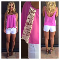 Lace On the Side Tank - FUSCHIA