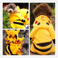 Yellow Cute Pikachu Hoodie Pet Dog Cat Lovely Puppy Soft Clothing - Warm for Winter Clothes Coat Jumpsuit Size XS-XL